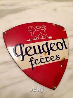 Rare Plaque émaillée Peugeot Frères originale ancienne garage