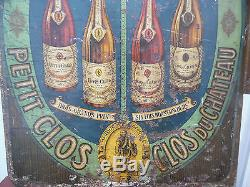 Rare Plaque émaillée Vin Petit Clos du Château