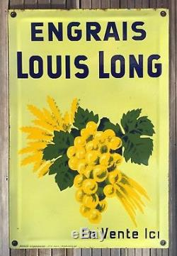 Rare Plaque émaillée bombée ENGRAIS LOUIS LONG / 1930