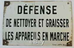 Rare Plaque émaillée défense de nettoyer et graisser, Vintage, ancien Email Japy