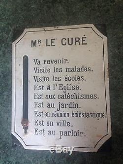 Rare Plaque Émaillée Ancienne Monsieur Le Curé