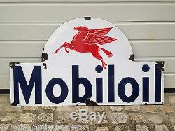 Rare Plaque émaillée Mobil Oil! Emaillerie Belge! 1953! Bidon Huile! RARE