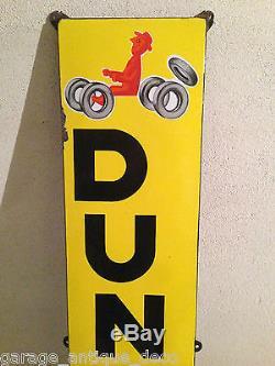 Rare Plaque émaillée Pneus Dunlop Savignac EAS! 1955! Bidon Huile RARE