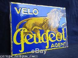 Rare Plaque émaillée Vélo Peugeot Agent! Version Belge 1937! Bidon Huile RARE