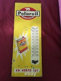 Rare Plaque/tole Thermomètre Publicitaire POLAROIL années 60