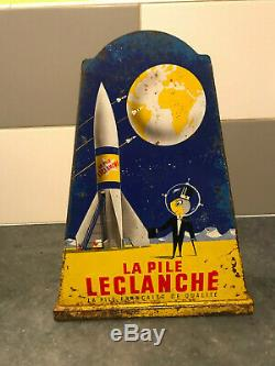 Rare Présentoir publicitaire Tôle lithographiée Spatiale Piles Leclanché pub