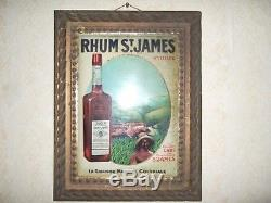 Rare Publicité en Tôle repoussé Lithographié RHUM ST. JAMES vers 1920