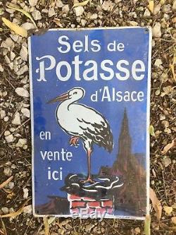 Rare Sels de Potasse enamel plaque émaillée