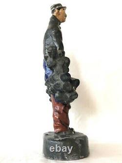 Rare Statuette Publicitaire Vin Nicolas Nectar Le Livreur En Terre De Pipe 26cm
