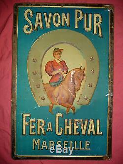 Rare Tole Lithographiee Ancienne Publicitaire Savon Pur. Fer A Cheval. Marseille