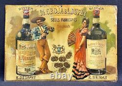 Rare Tôle Lithographiée Bitters Demay & Desaphy à /Groja & L. Dupuy 1895