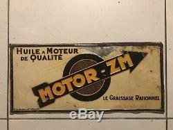 Rare Tole Peinte Motor- Zm G De Andreis No Plaque Emaillee Garage Huile Bidon