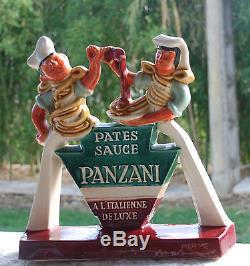 Rare ancienne ceramique herve morvan pub panzani parthenay plaque emaillee