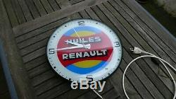 Rare ancienne horloge enseigne lumineuse huile renault 1966 no plaque emaillee