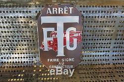 Rare ancienne plaque émaillée ARRET DE BUS FTG
