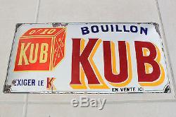 Rare ancienne plaque émaillée bombée publicitaire Bouillon Kub OF10 exiger le K
