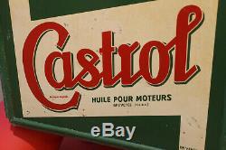 Rare caisse bidon huile Castrol avec toles, non émaillée, garage année 30