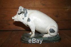 Rare cochon ancien en zinc de boucherie comptoir Napoléon 3 enseigne