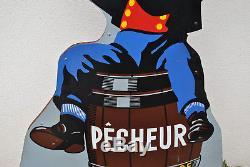 Rare enseigne FISCHER, bière du pêcheur, 1.55m émaillerie alsacienne Strasbourg