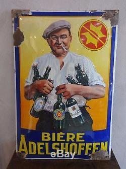 Rare et ancienne plaque émaillée ADELSHOFFEN 7 bouteilles Bière d'Alsace