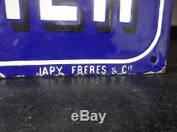 Rare et ancienne plaque émaillée CHOCOLAT MENIER CACAO MENIER Japy Frères