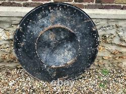 Rare et ancienne plaque émaillée Dunlop, ronde et bombée en forme de pneu
