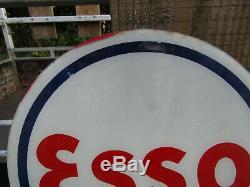 Rare et superbe plaque verre pour globe lumineux de pompe a essence ESSO, an 50