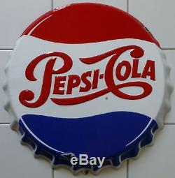 Rare grande Plaque émaillée originale d'époque en relief Pepsi Cola vers 1950