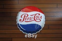 Rare grande Plaque originale d'époque en relief Pepsi Cola vers 1950