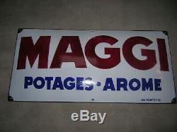 Rare grande plaque émaillée bombée ancienne maggi no kub jamais posée 73x35 cm