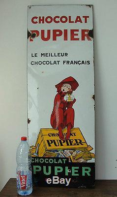 Rare grande plaque émaillée ancienne chocolat Pupier illustrateur Jean d'Ylen