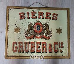 Rare grande tôle ancienne biére Gruber 60 x 48 cm no plaque émaillée Signée
