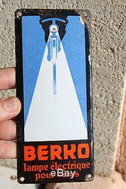 Rare plaque de propreté émaillée bombée publicitaire Berko lampe pour vélos