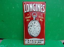 Rare plaque emaillée ancienne LONGINES, bombée, montre, reveil, horloger. Superbe