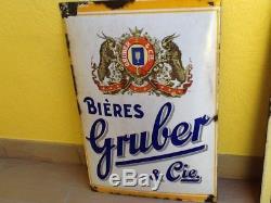 Rare plaque émaillée Bombée bières Gruber & cie signée boos & hahn