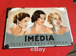 Rare plaque emaillee Imedia annees 30