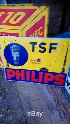 Rare plaque émaillée TSF Philips Double Face Grande Taille
