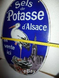 Rare plaque émaillée ancienne SELS DE POTASSE D'ALSACE émail Ed JEAN PARIS
