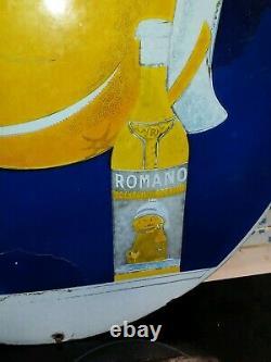 Rare plaque émaillée ancienne apéritif coktail romano grand modèle
