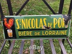 Rare plaque émaillée bière de Saint nicolas originale