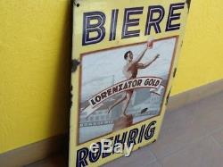 Rare plaque émaillée biere roehrig lorenzator gold