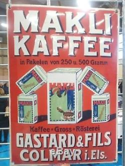 Rare plaque émaillée bombée ancienne café Makli Kaffee allemande im Elsass