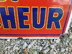 Rare plaque émaillée la bière du Pêcheur EAS 48 x 75 cm