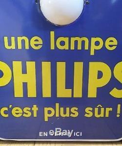Rare plaque emaillee publicitaire thermomètre Philips lampe ampoule