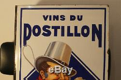 Rare plaque émaillée tles vins du postillon double face aes strasbourg