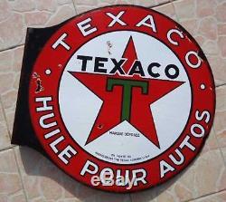 Rare plaque émaillée TEXACO années 30. Double face. 58 cm
