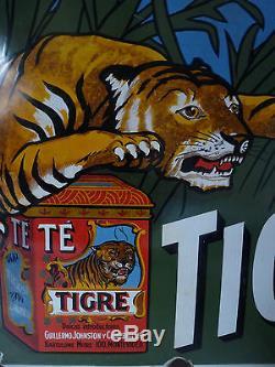 Rare plaque émaillée Té Tigre/ Thé tigre