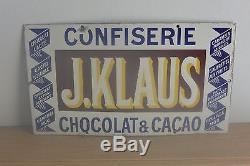 Rare plaque émaillée ancienne Chocolat J. KLAUS