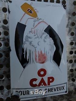 Rare plaque émaillée ancienne O'CAP d'après Capiello