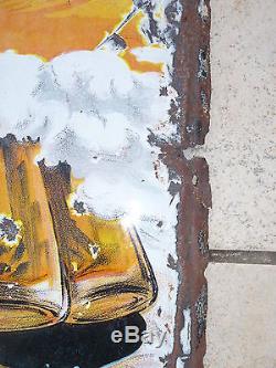 Rare plaque émaillée anncienne BIERE DE VILLE SUR ILLON LA VOSGIENNE TAMAGNO